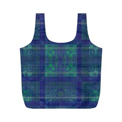 Blue Green Faded Plaid Full Print Recycle Bag (m) by SpinnyChairDesigns