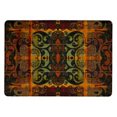 Vintage Red Gold Green Samsung Galaxy Tab 10 1  P7500 Flip Case by SpinnyChairDesigns