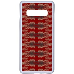 Red Grey Ikat Pattern Samsung Galaxy S10 Plus Seamless Case(white) by SpinnyChairDesigns