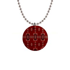 Red Grey Ikat Pattern 1  Button Necklace