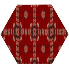 Red Grey Ikat Pattern Wooden Puzzle Hexagon