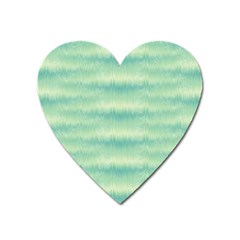 Light Green Turquoise Ikat Pattern Heart Magnet by SpinnyChairDesigns