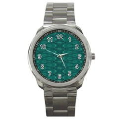 Teal Ikat Pattern Sport Metal Watch by SpinnyChairDesigns