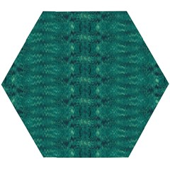 Teal Ikat Pattern Wooden Puzzle Hexagon