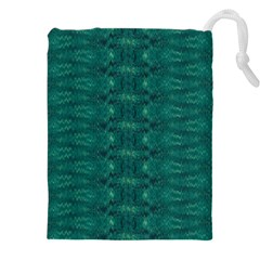 Teal Ikat Pattern Drawstring Pouch (5xl)