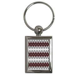 Brown And White Ikat Key Chain (rectangle) by SpinnyChairDesigns