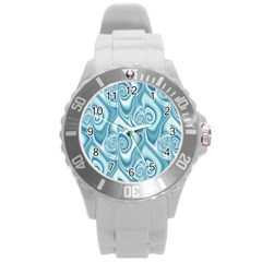 Abstract Blue White Spirals Swirls Round Plastic Sport Watch (l) by SpinnyChairDesigns