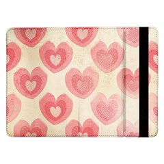 Pink Faded Hearts Samsung Galaxy Tab Pro 12 2  Flip Case by SpinnyChairDesigns