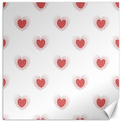 Red Polka Dot Hearts On White Canvas 20  X 20  by SpinnyChairDesigns