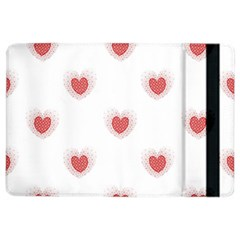 Red Polka Dot Hearts On White Ipad Air 2 Flip by SpinnyChairDesigns