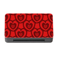 Dark Red Heart Pattern Memory Card Reader With Cf