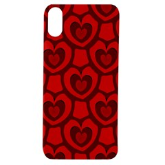 Dark Red Heart Pattern Apple Iphone Xs Tpu Uv Case