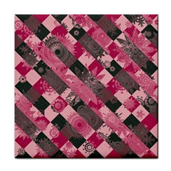 Abstract Pink Grey Stripes Tile Coaster by SpinnyChairDesigns