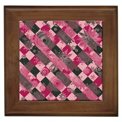Abstract Pink Grey Stripes Framed Tile by SpinnyChairDesigns