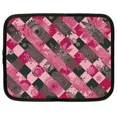 Abstract Pink Grey Stripes Netbook Case (xl) by SpinnyChairDesigns