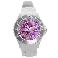 Plum Purple Abstract Floral Pattern Round Plastic Sport Watch (l)