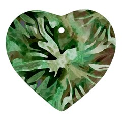 Green Brown Abstract Floral Pattern Heart Ornament (two Sides)