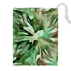 Green Brown Abstract Floral Pattern Drawstring Pouch (3xl)