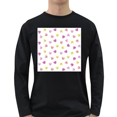 Cute Colorful Smiling Hearts Pattern Long Sleeve Dark T-shirt by SpinnyChairDesigns