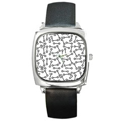 Abstract Black And White Minimalist Square Metal Watch by SpinnyChairDesigns