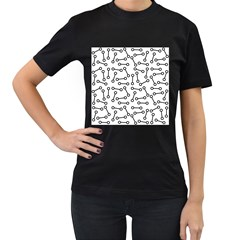 Abstract Black And White Minimalist Women s T-shirt (black) by SpinnyChairDesigns
