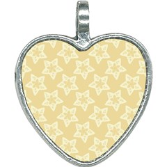 Gold Stars Pattern Heart Necklace by SpinnyChairDesigns