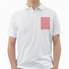 Cute Pink And White Hearts Golf Shirt by SpinnyChairDesigns