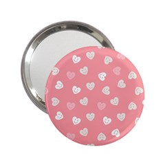 Cute Pink And White Hearts 2 25  Handbag Mirrors by SpinnyChairDesigns