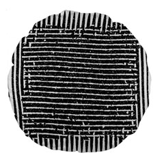 Black And White Abstract Grunge Stripes Large 18  Premium Round Cushions