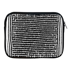Black And White Abstract Grunge Stripes Apple Ipad 2/3/4 Zipper Cases by SpinnyChairDesigns