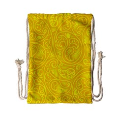 Bright Yellow Gold Paisley Pattern Drawstring Bag (small)
