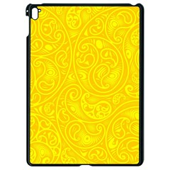 Bright Yellow Gold Paisley Pattern Apple Ipad Pro 9 7   Black Seamless Case