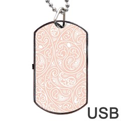 Barely There White Paisley Pattern Dog Tag Usb Flash (two Sides)