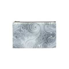 White Silver Swirls Pattern Cosmetic Bag (small)
