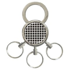 Black And White Buffalo Plaid 3-ring Key Chain by SpinnyChairDesigns