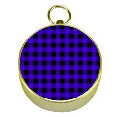 Dark Blue Black Buffalo Plaid Gold Compasses