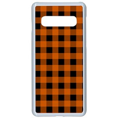 Orange Black Buffalo Plaid Samsung Galaxy S10 Seamless Case(white)