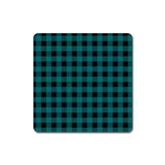 Teal Black Buffalo Plaid Square Magnet by SpinnyChairDesigns