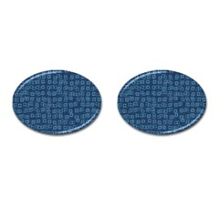 Blue Abstract Checks Pattern Cufflinks (oval)