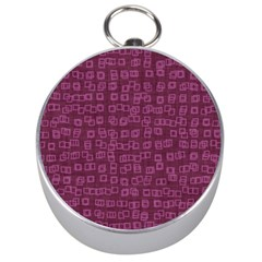Plum Abstract Checks Pattern Silver Compasses