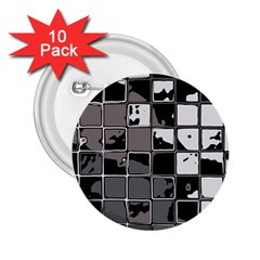 Black And White Checkered Grunge Pattern 2 25  Buttons (10 Pack)