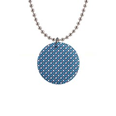 Country Blue Checks Pattern 1  Button Necklace by SpinnyChairDesigns