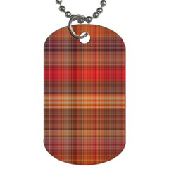 Madras Plaid Fall Colors Dog Tag (one Side) by SpinnyChairDesigns