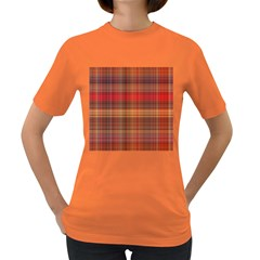 Madras Plaid Fall Colors Women s Dark T-shirt by SpinnyChairDesigns