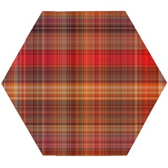 Madras Plaid Fall Colors Wooden Puzzle Hexagon