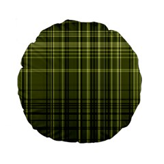 Green Madras Plaid Standard 15  Premium Flano Round Cushions by SpinnyChairDesigns