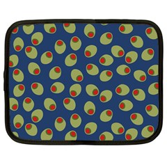 Green Olives With Pimentos Netbook Case (large) by SpinnyChairDesigns