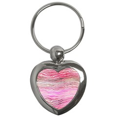 Pink Abstract Stripes Key Chain (heart) by SpinnyChairDesigns