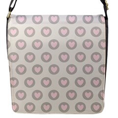 Pink And Brown Hearts Flap Closure Messenger Bag (s)