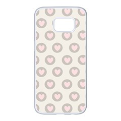 Pink And Brown Hearts Samsung Galaxy S7 Edge White Seamless Case